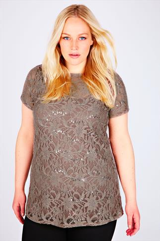 Taupe Floral Lace Short Sleeve Top With Sequin Detail