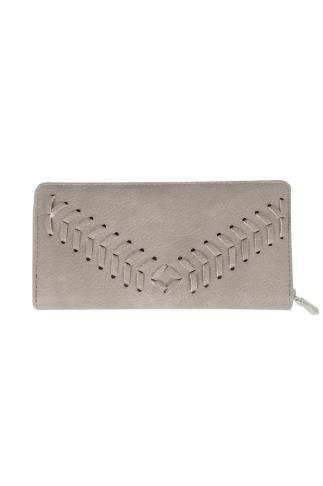 Taupe Zip Around Purse With Herringbone Stitch Detail