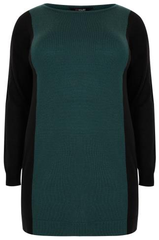 Teal & Black Colour Block Knitted Tunic