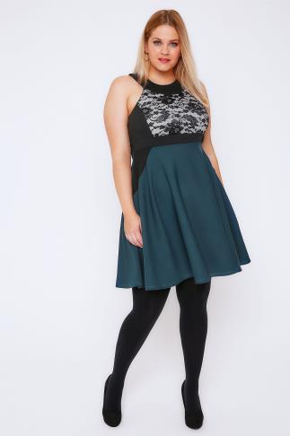 Teal & Black Lace Panel Skater Dress