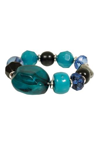 Teal, Blue & Black Beaded Stretch Bracelet