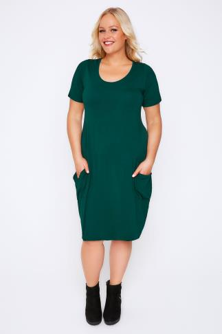 Teal Jersey Dress With Drop Pockets