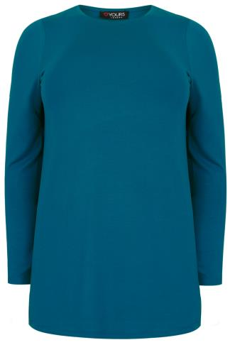 Teal Long Sleeve Soft Touch Jersey Top