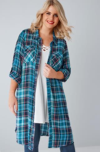 Blouses & Shirts Teal & Navy Check Longline Duster Shirt With Pockets 156157