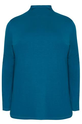 Teal Turtle Neck Long Sleeved Soft Touch Jersey Top