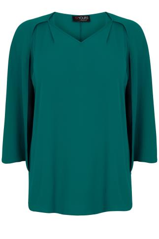 Teal Woven Sleeveless Top With V-Neck & Cape Detail