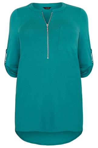 Teal Zip Front Jersey Top With 3/4 Length Sleeves