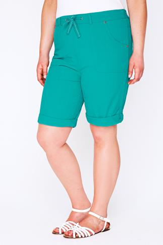 Turquoise Cool Cotton Roll Up Shorts With Tab & Button Detail