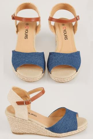 Wide Fit Wedges Two Part High Wedge Espadrille Sandal In EEE Fit 056438
