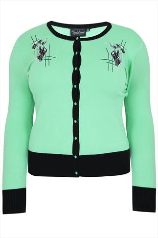 VOODOO VIXEN Mint Green Cardigan With Cat Embroidery