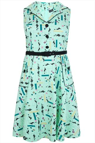 VOODOO VIXEN Mint Green Cat Print 50's Style Dress