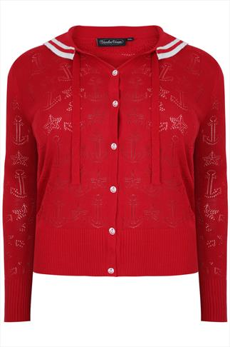 VOODOO VIXEN Red Nautical Sailor Style Knitted Cardigan