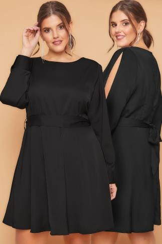 Evasees WOLF & WHISTLE Black Dress With Belted Waist & Open Sleeves 138364