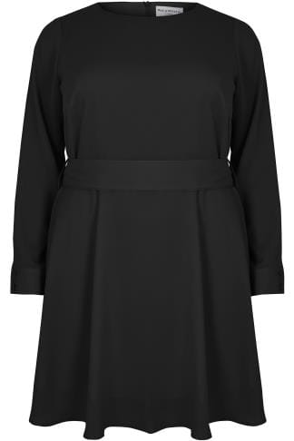 WOLF & WHISTLE Black Dress With Belted Waist & Open Sleeves