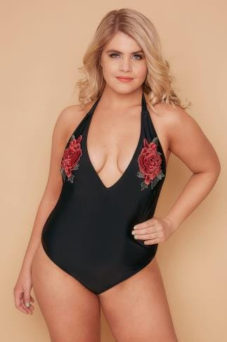 Swimsuits WOLF & WHISTLE Black Floral Rose Applique Halter Plunge Swimsuit 138240