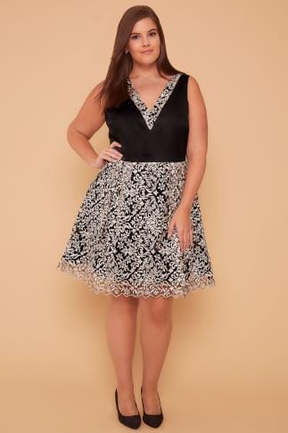 Party Dresses WOLF & WHISTLE Black & Ivory Dress With Floral Embroidered Mesh Skirt 138371