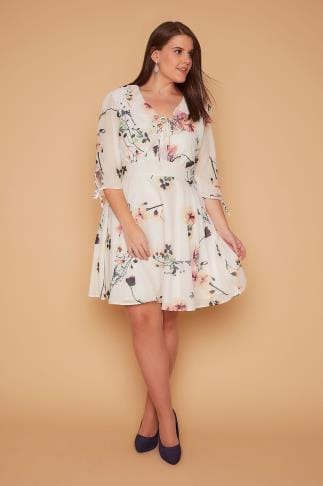 Party Dresses WOLF & WHISTLE Ivory Floral Print Tea Dress With Ruffle Lace Up Neckline 138344
