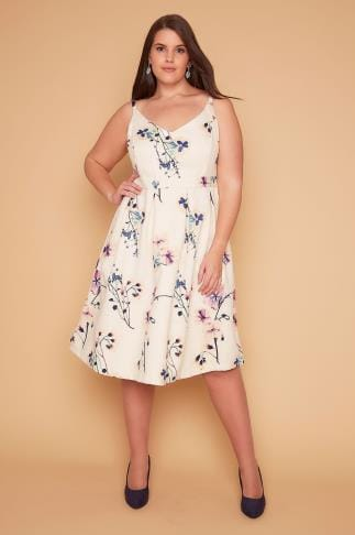 Party Dresses WOLF & WHISTLE Ivory & Multi Pressed Flowers Printed Cami Dress 138343