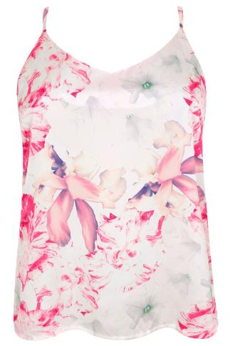 WOLF & WHISTLE Ivory & Pink Floral Cross Back Cami Vest Top