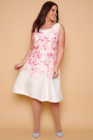 WOLF & WHISTLE Ivory & Pink Floral Pleated Skater Dress