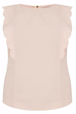 WOLF & WHISTLE Nude Pink Scalloped Frill Top
