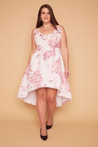 Party Dresses WOLF & WHISTLE Pink Floral Frill Strappy Dress With Dip Hem 138347
