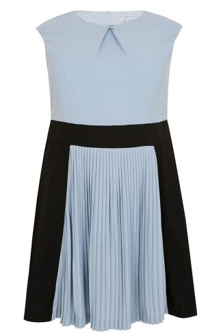 WOLF & WHISTLE Powder Blue & Black Skater Dress With Pleated Skirt