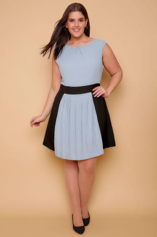 WOLF & WHISTLE Powder Blue & Black Skater Dress With Pleated Skirt 138221