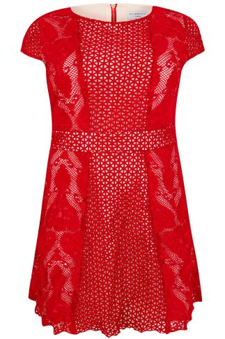 WOLF & WHISTLE Red & Cream Lace Overlay Shift Dress