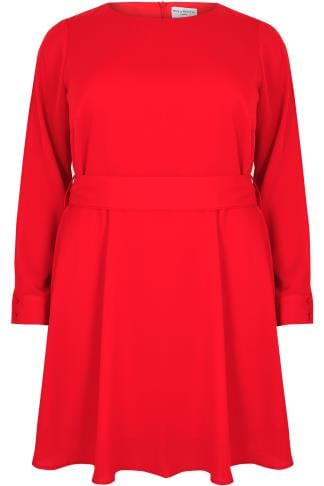 Skater Dresses WOLF & WHISTLE Red Dress With Belted Waist & Open Sleeves 138365