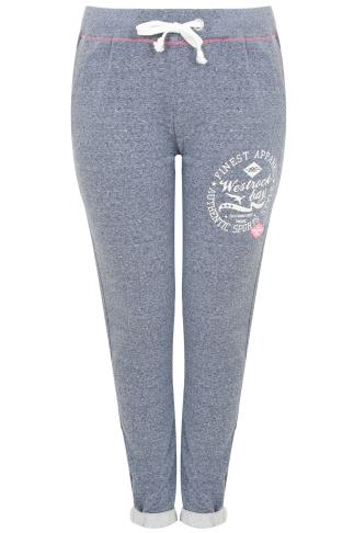 Westrock Bay Blue Marl Joggers With Elasticated Waist