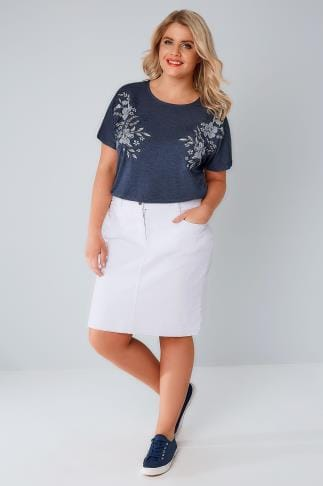 White 5 Pocket Denim Skirt With Raw Hem 160006