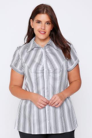 White And Black Striped Shirt With Ruching Detail 049966