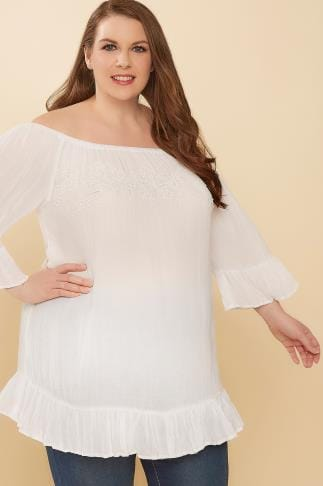 White Beaded Gypsy Top With Flute Sleeves 130093