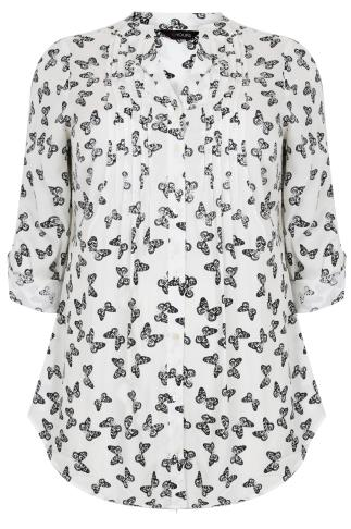 White & Black Butterfly Print Longline Shirt With Sequin Appliqué