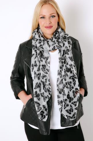 White & Black Butterfly Print Scarf 152007