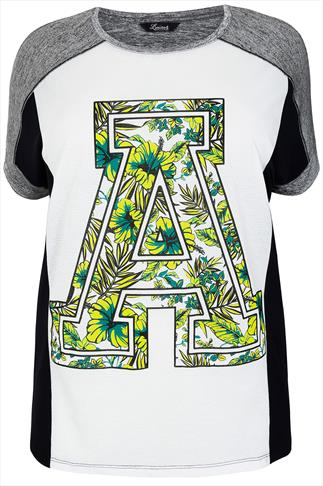 White & Black Colour Block Varsity Jungle Print Jersey Top