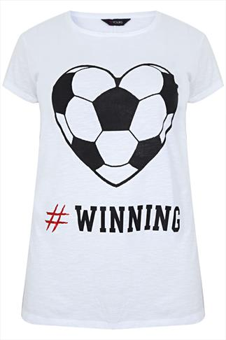 White & Black Football Print '#WINNING' T-Shirt