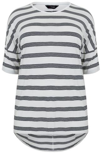 White & Black Striped Jersey Top With Half Sleeves & Dipped Hem