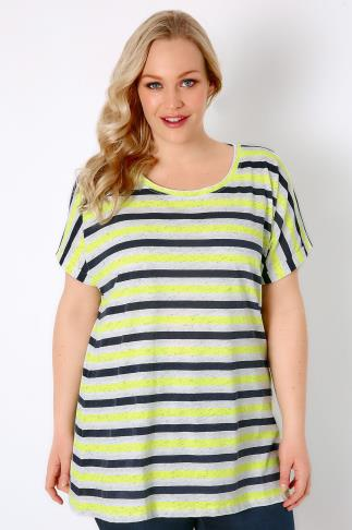 White, Black & Yellow Stripe Top With Scoop Neckline 170066