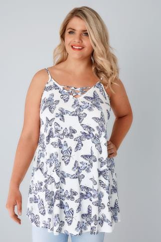 Sleeveless Tops White & Blue Butterfly Longline Cami Vest Top With Cross Front Detail 132273