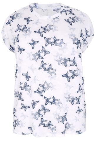 White & Blue Butterfly Print Burnout T-Shirt 132121