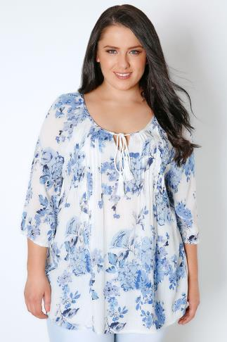 Blouses White & Blue Chambray Floral Blouse With Sequin Detail 130057