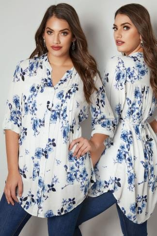 Shirts White & Blue Floral Pintuck Longline Blouse With Beading Detail 130250