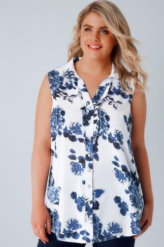 Blouses & Shirts White & Blue Floral Print Sleeveless Blouse With Ruffle Placket 130046