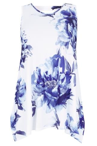White & Blue Floral Slinky Stretch Sleeveless Top With Cut Out Back