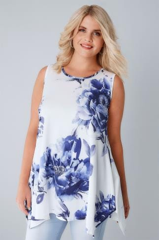 Smart Jersey Tops White & Blue Floral Slinky Stretch Sleeveless Top With Cut Out Back 134192
