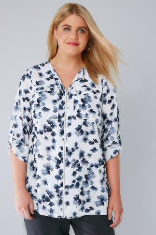 White & Blue Floral Zip Front Blouse With Roll Up Sleeves & Pockets 156132