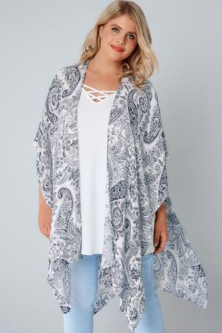 Wraps White & Blue Paisley Print Wrap 134104