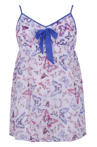 White, Blue & Pink Butterfly Print Chiffon Chemise